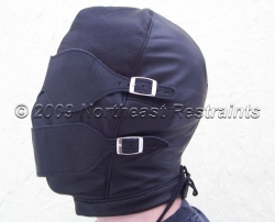 The Silencer Leather BDSM Hood w/ Ball Gag