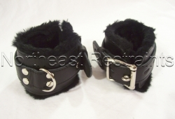 Premium Fur Lined Leather Wrist or Ankle Cuffs